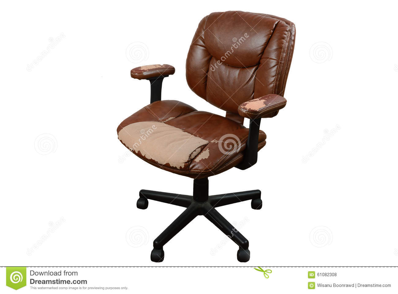 worn out brown leather office chair isolate background stock photo