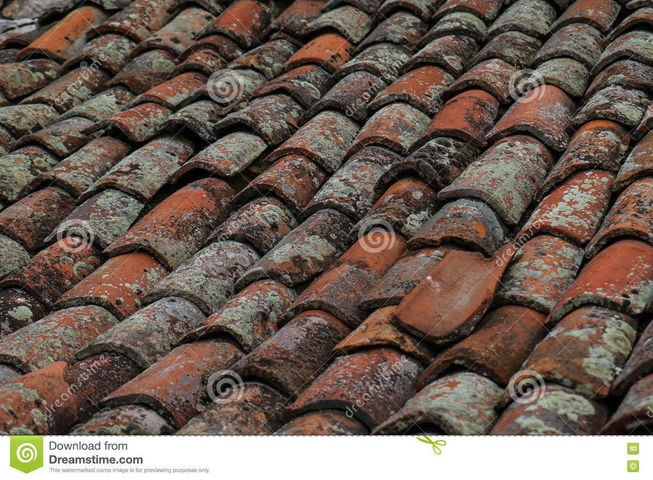 Worn-out Clay Roofing In Close-up Stock Photo - Image of