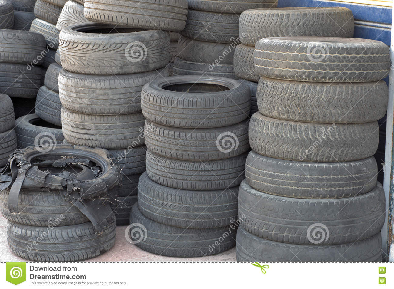 Worn out tires stock photo  Image of disposal, dirty - 81047834