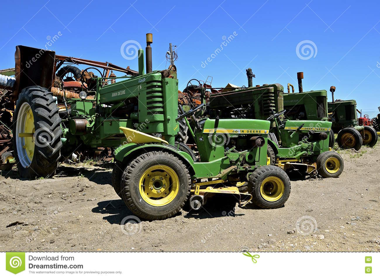 Worn Out Tractors And Riding Lawn Mowers Editorial