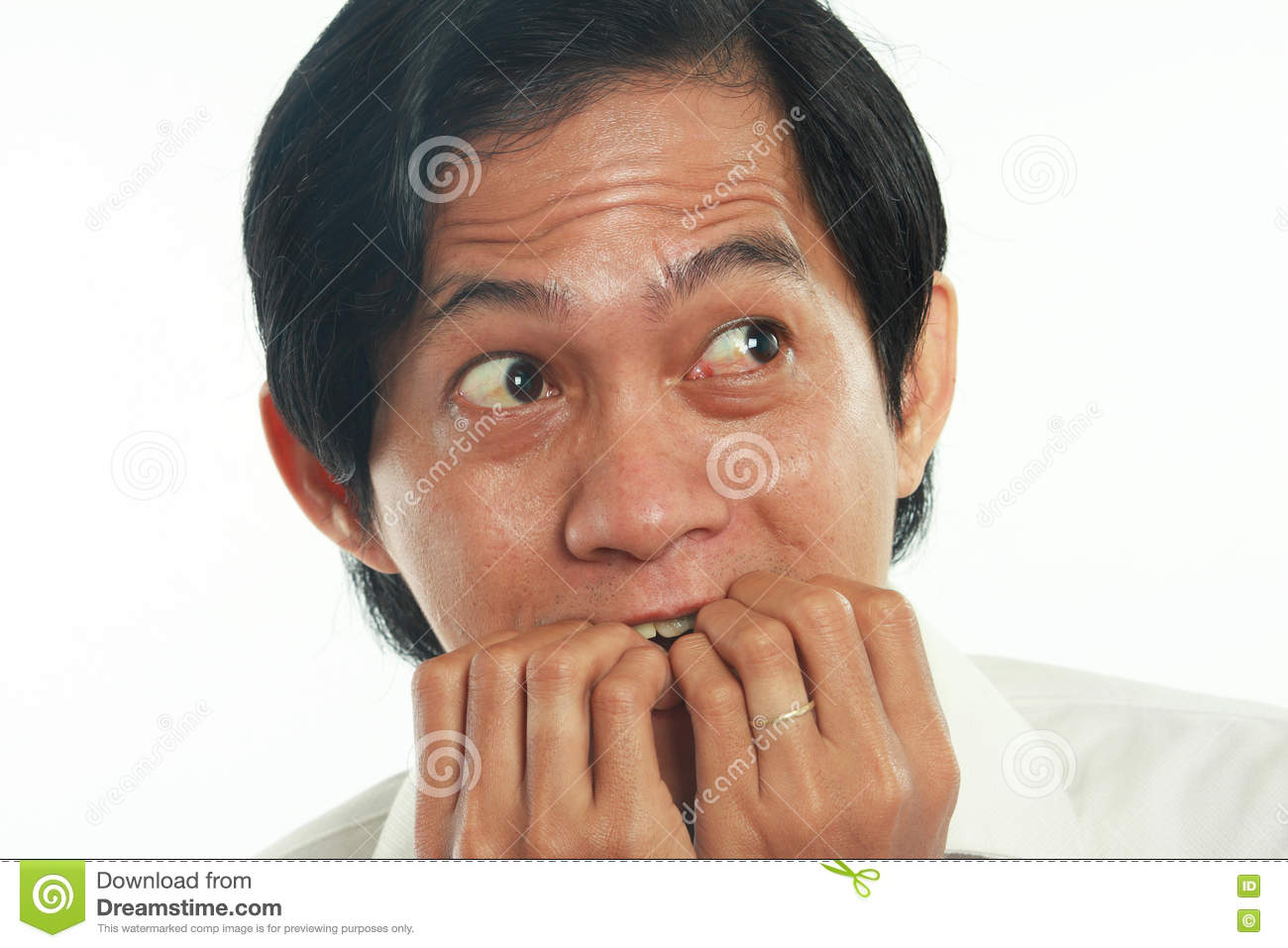 Worried Asian Businessman In Scared Gesture Stock Photo - Image of ...