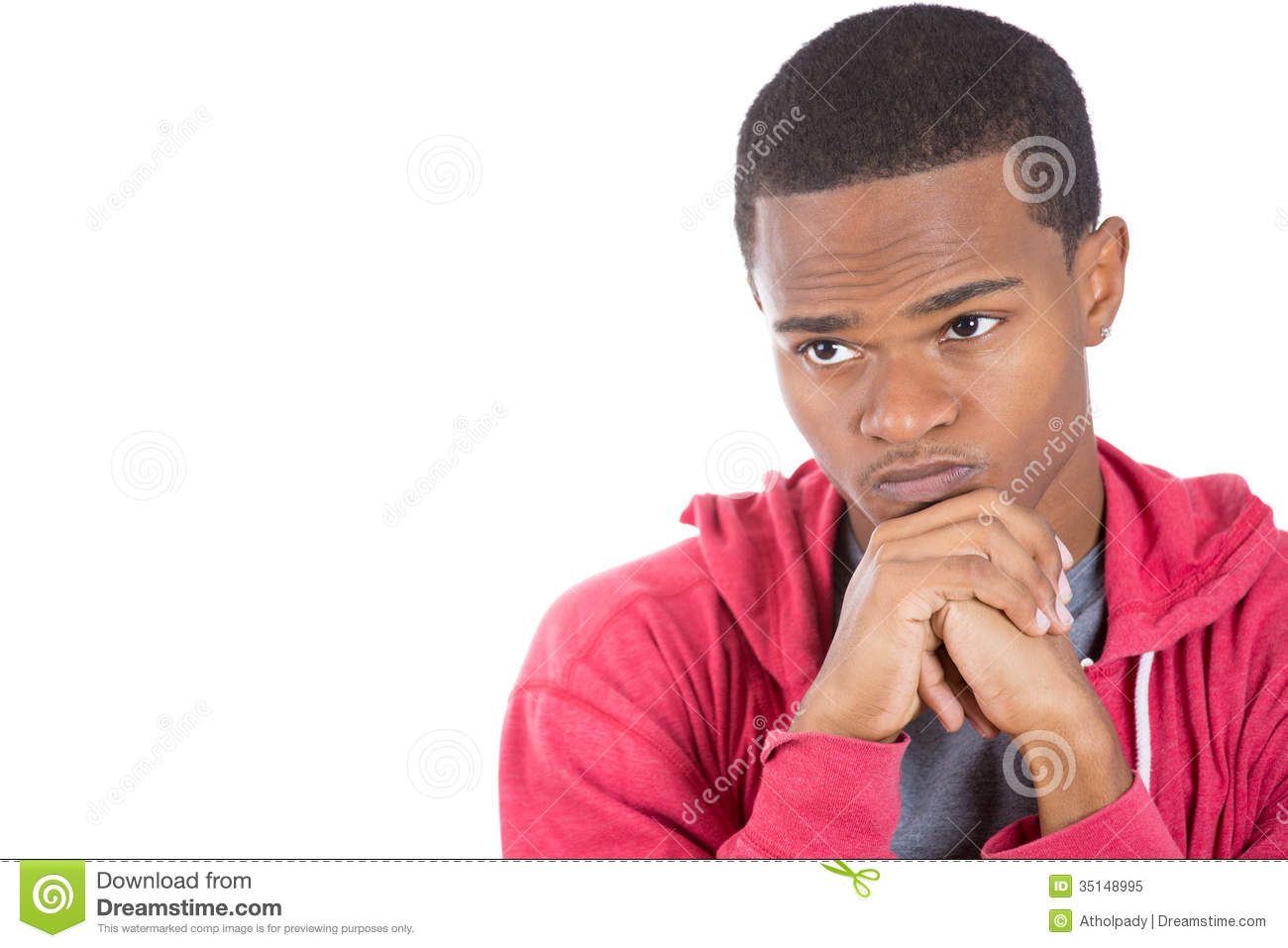 A Worried Black Guy Deeply Thinking Royalty Free Stock ...