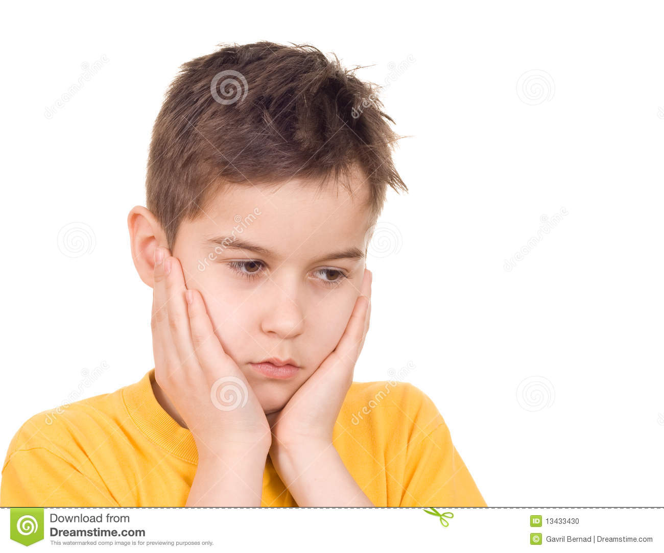 Worried Boy Stock Photo - Image: 13433430