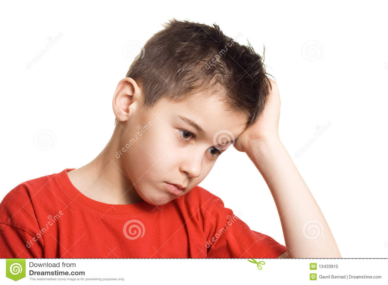 worried boy stock image image of sorrowful face complaint 13433915
