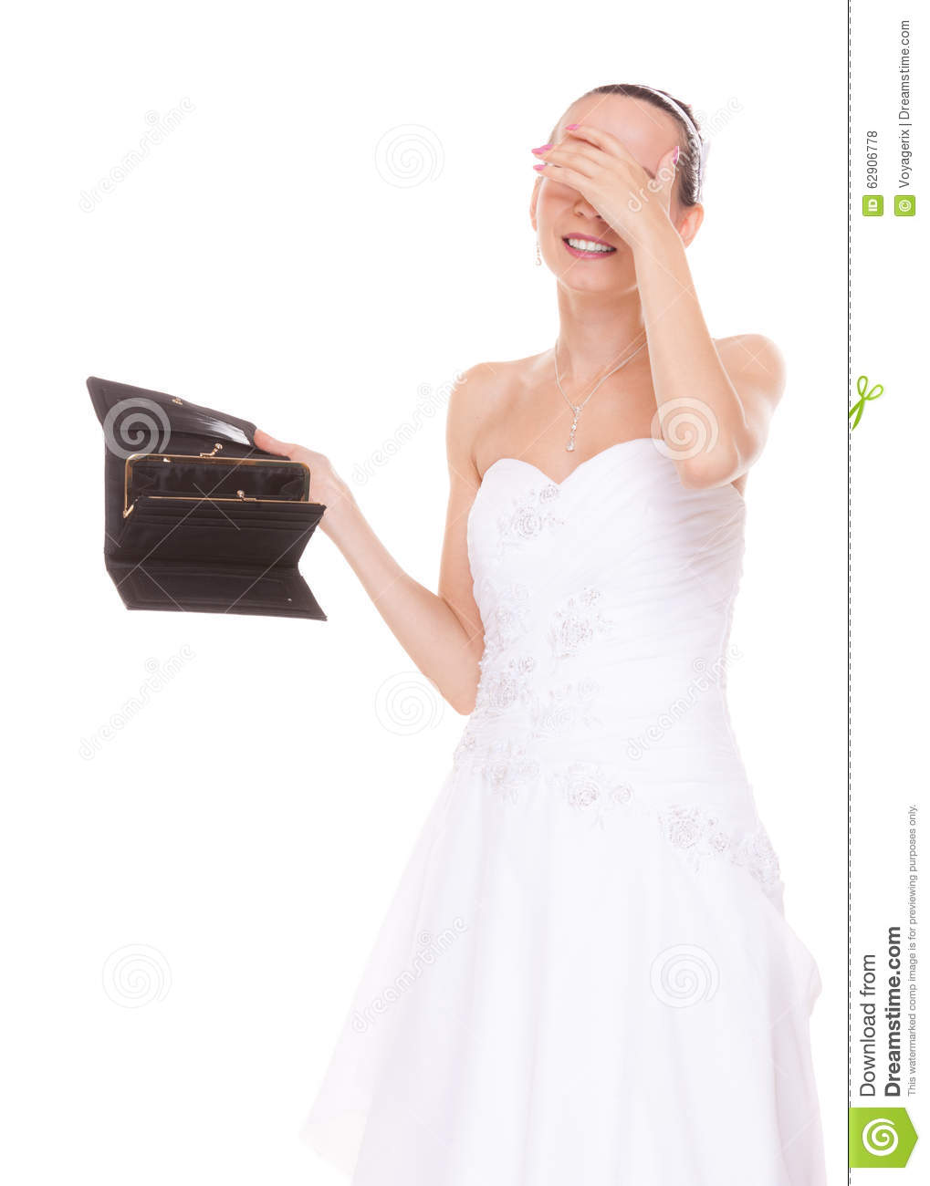 worried bride with empty wallet wedding expenses stock photo
