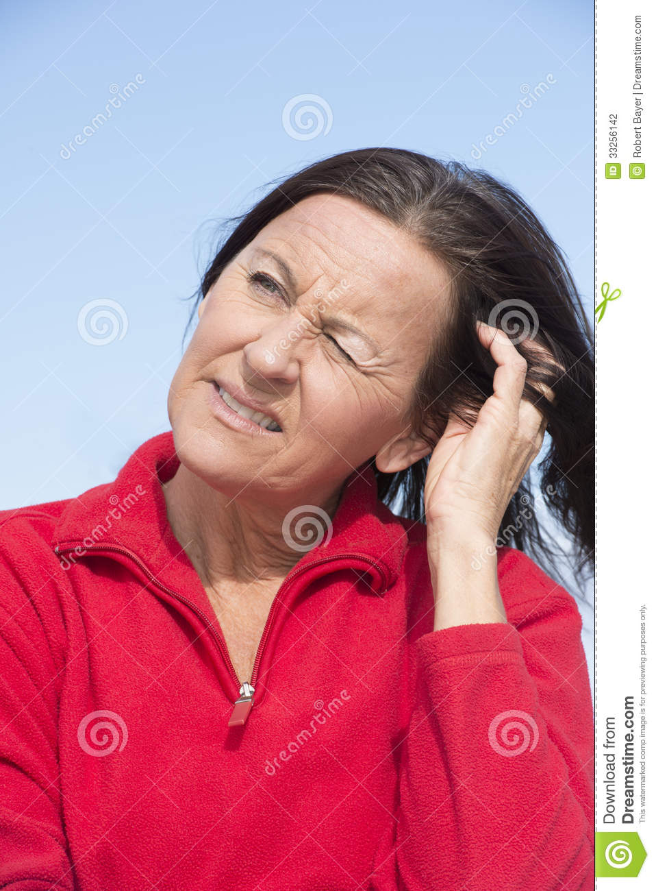 Worried Concerned Mature Woman Stock Photography - Image ...