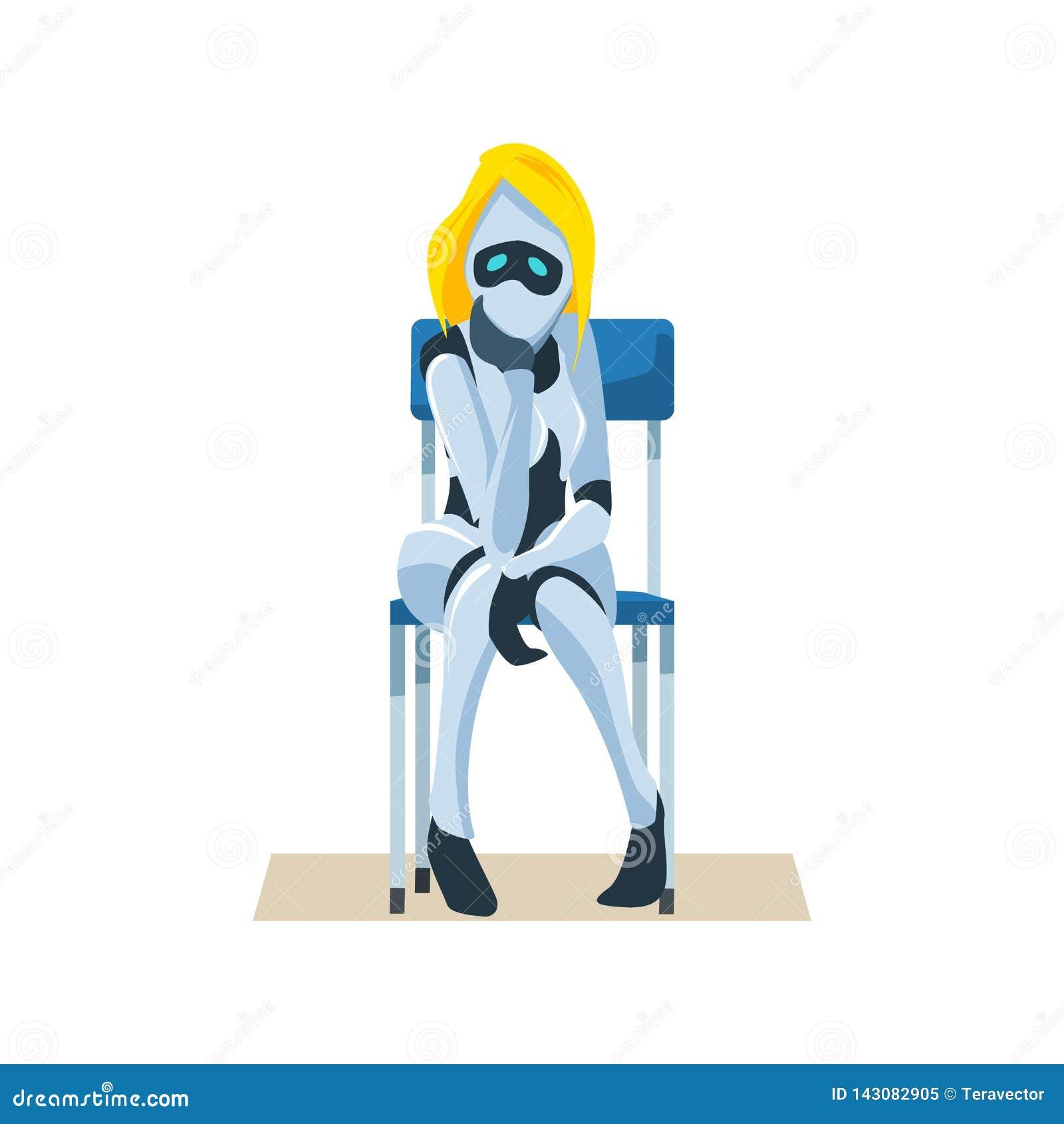 Worried Female Robot on Chair Wait Job Interview