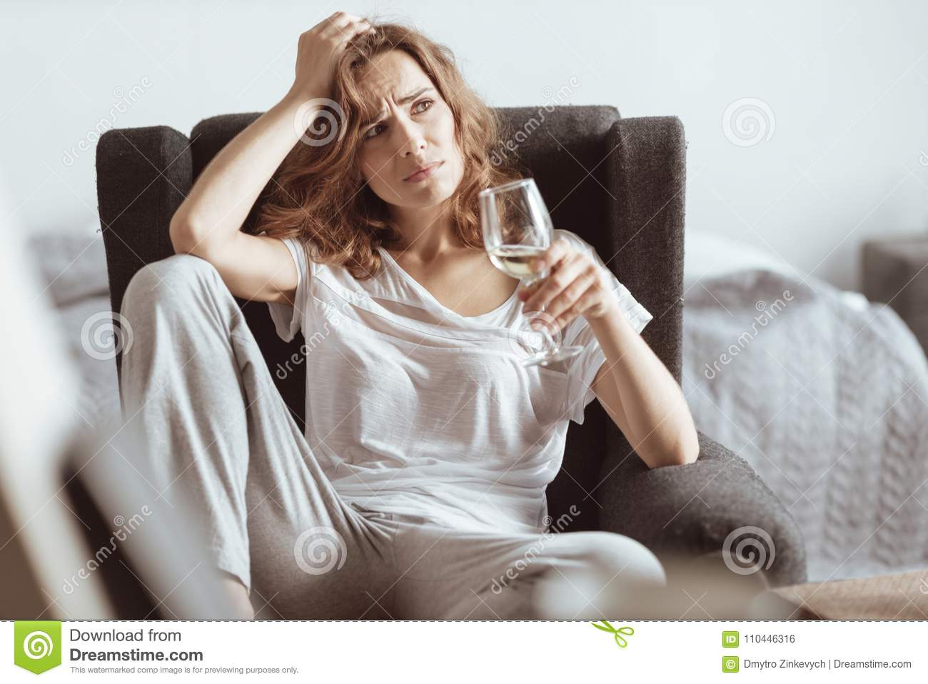 Download Worried Lady Thinking About Her Problems While Drinking Wine Stock Photo - Image of indoors, despondent: 110446316