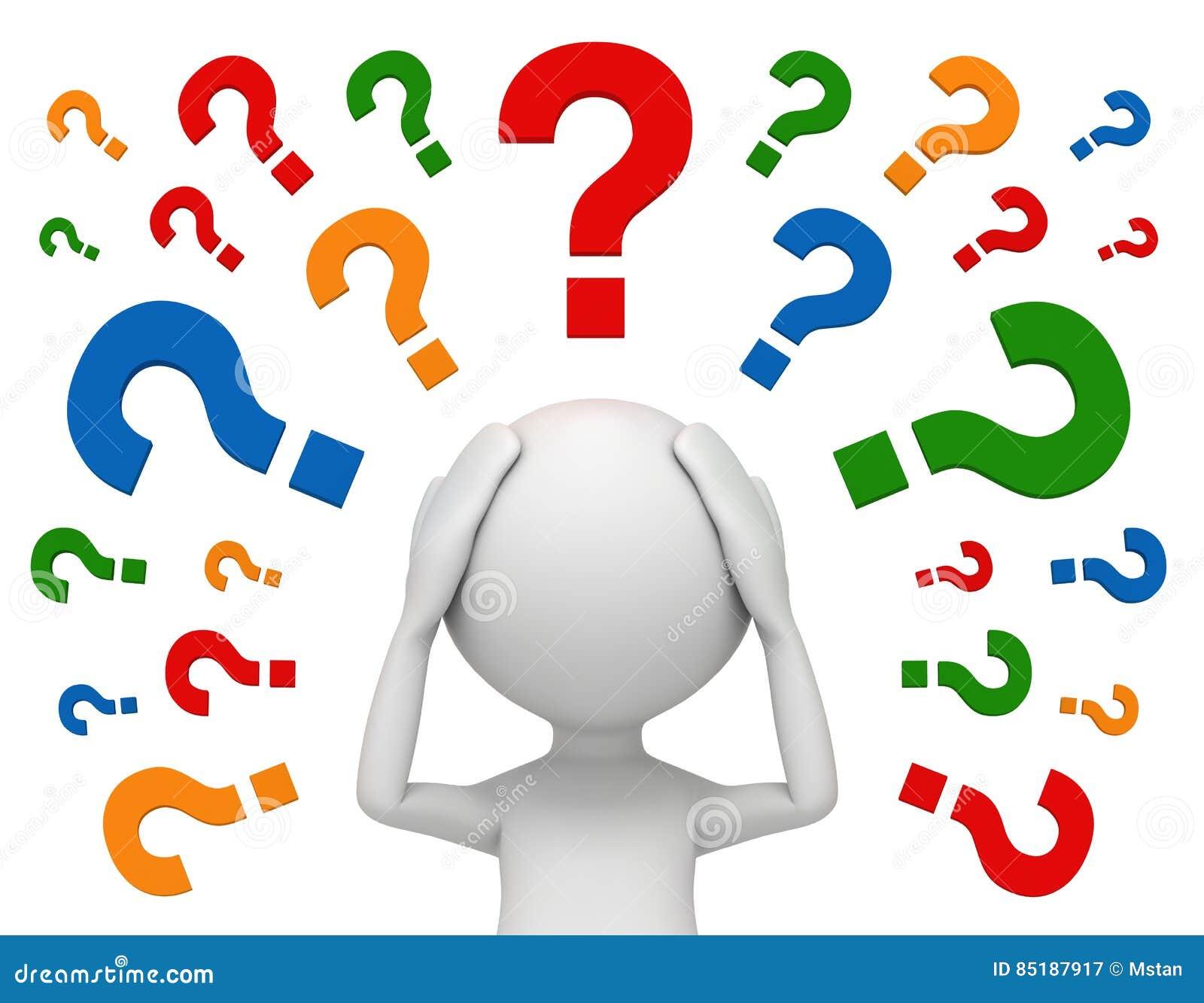 3d Man Thinking Question Marks Royalty-Free Cartoon ...