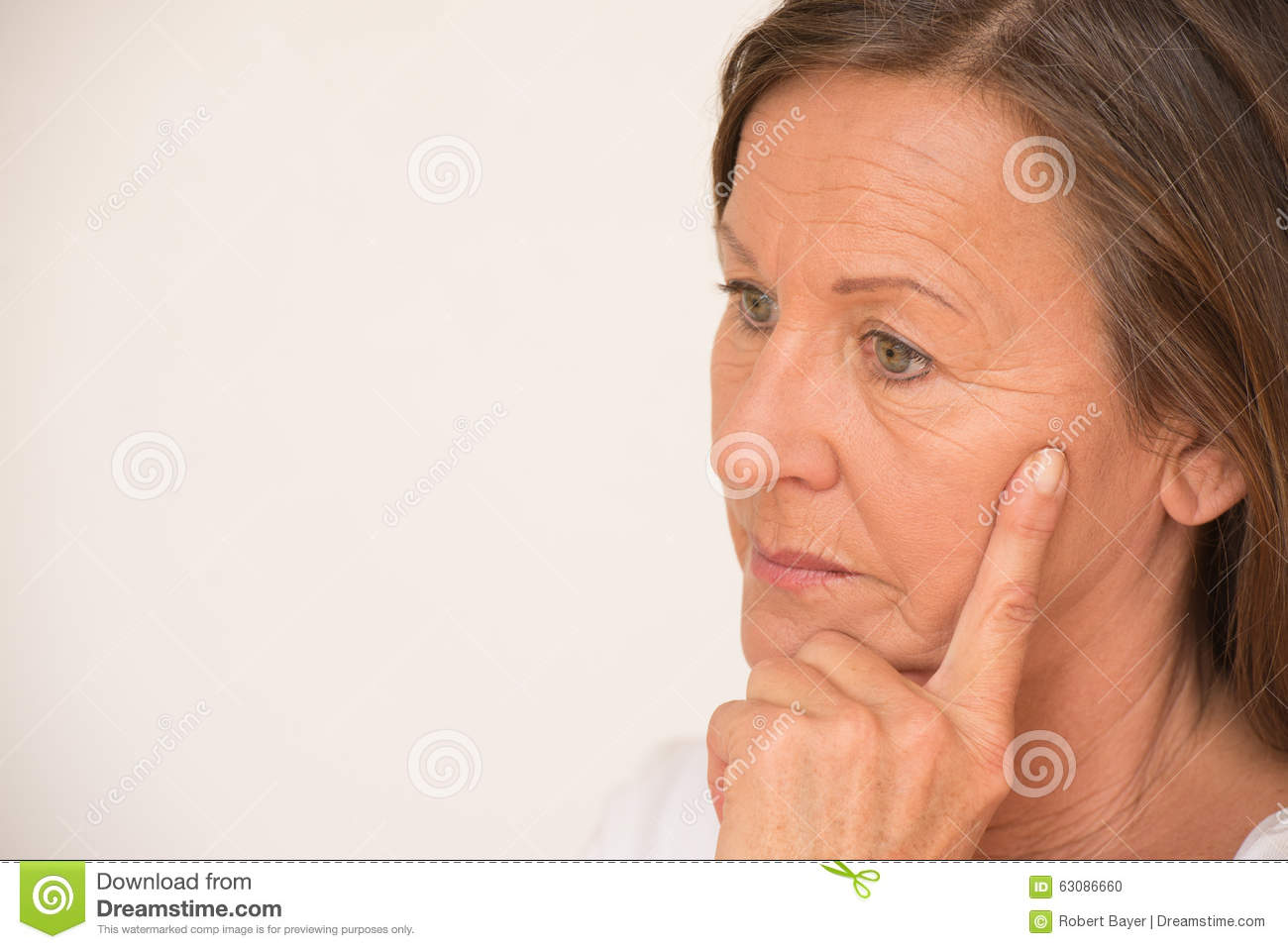 Worried Mature Woman Thinking Portrait Stock Photo - Image ...