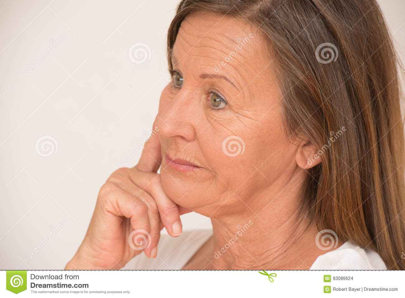 Worried Mature Woman Thinking Stock Photo - Image: 63086624