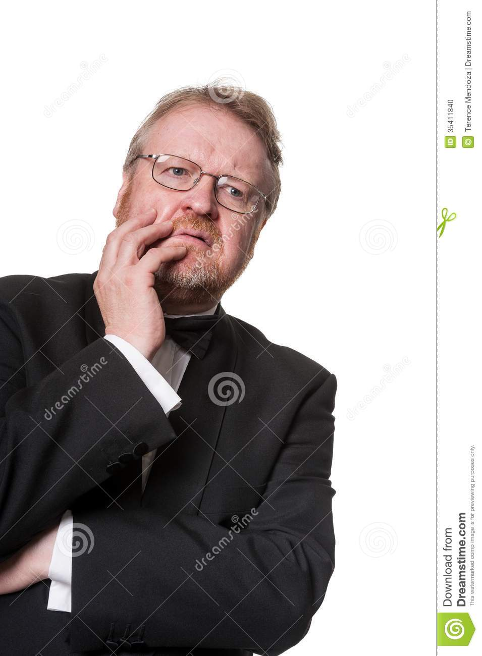 Worried Middle Aged Man In Tuxedo On White Stock Photo ...