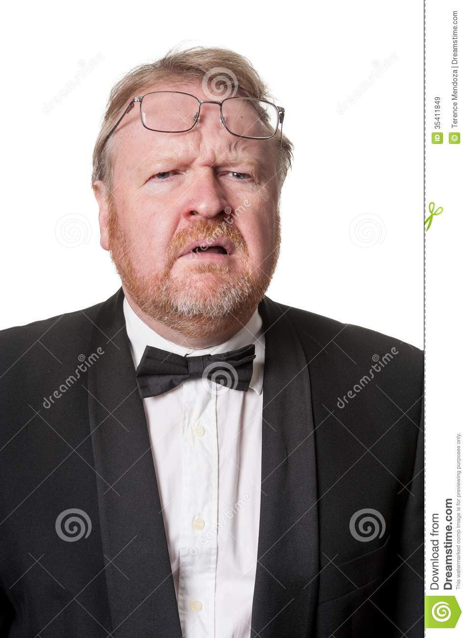 Worried Middle Aged Man In Tuxedo On White Royalty Free ...