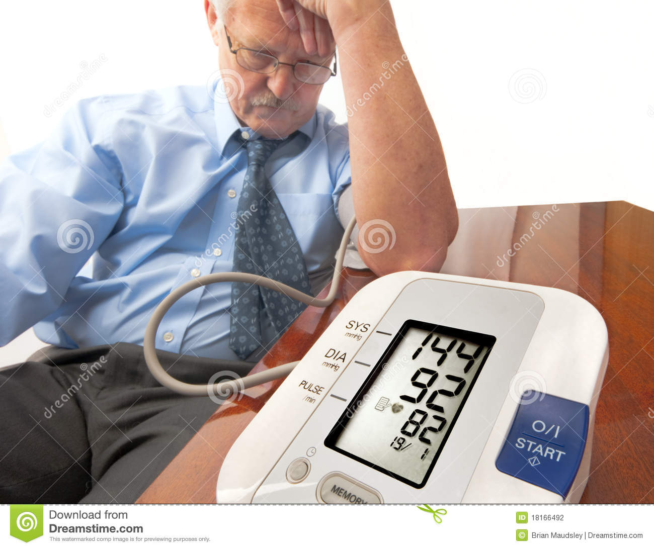 Stress Test Blood Pressure Readings: Worried Senior Man With High Blood Pressure. Stock