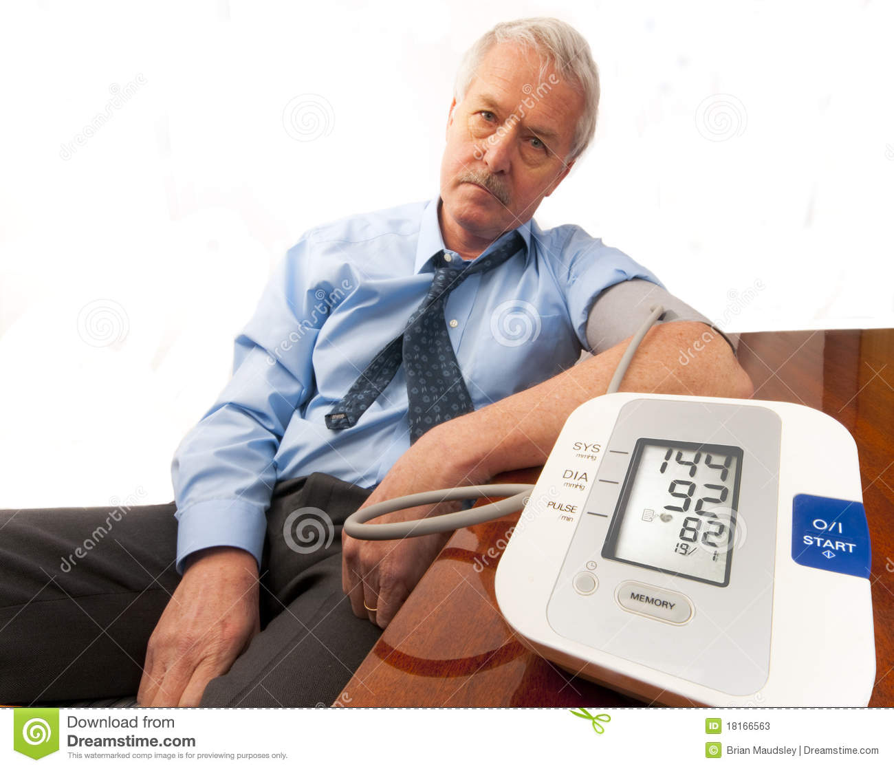 Stress Test Blood Pressure Readings: Worried Senior Man With High Blood Pressure. Royalty-Free
