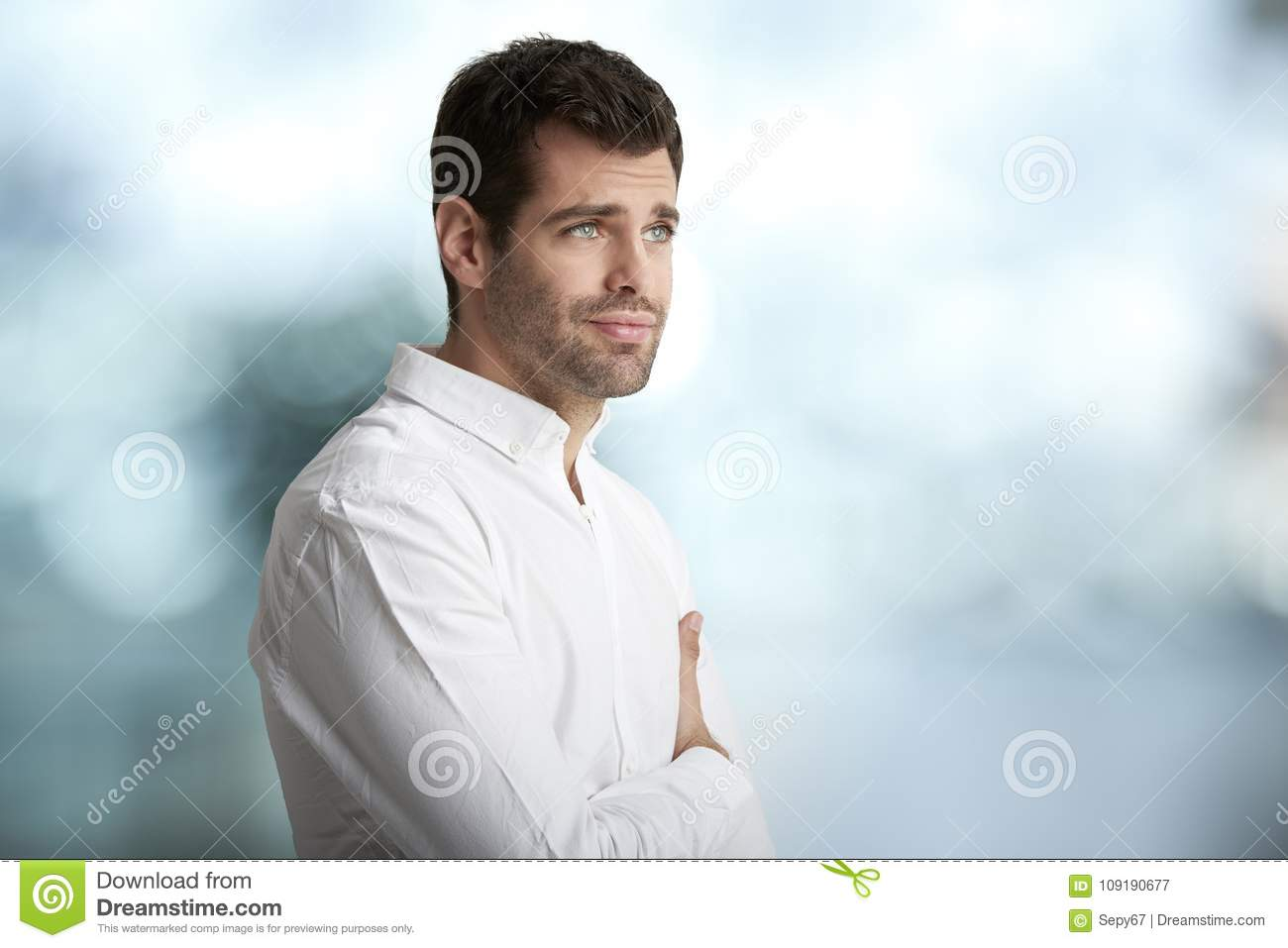 Worried young man portrait
