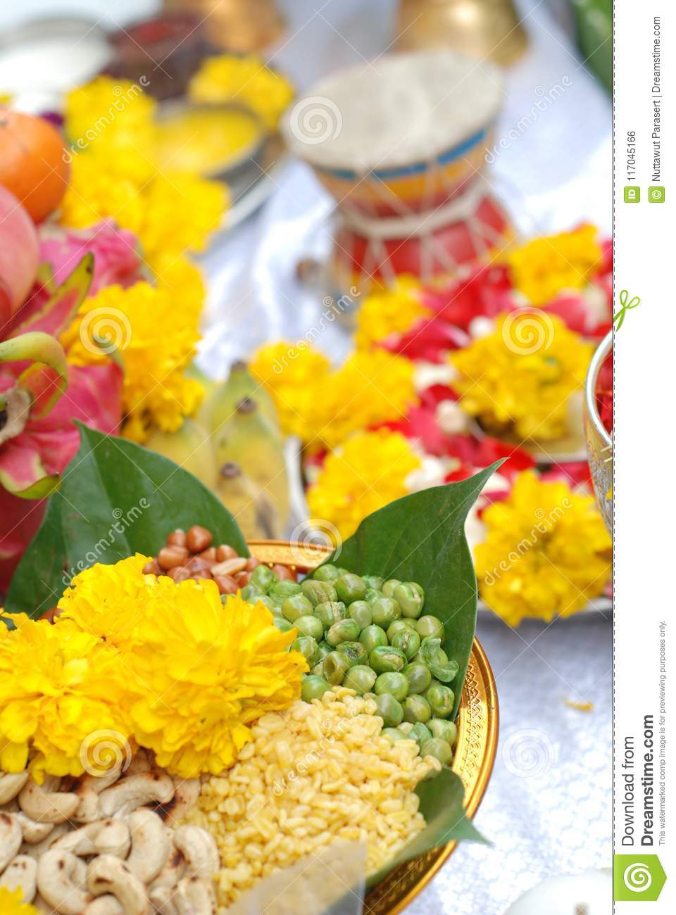 Worship For Hindi God With Cereal Grains 9 Colors And Lotus Is D