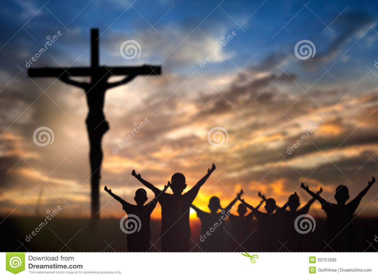 worship jesus on the cross stock photo image 50751205