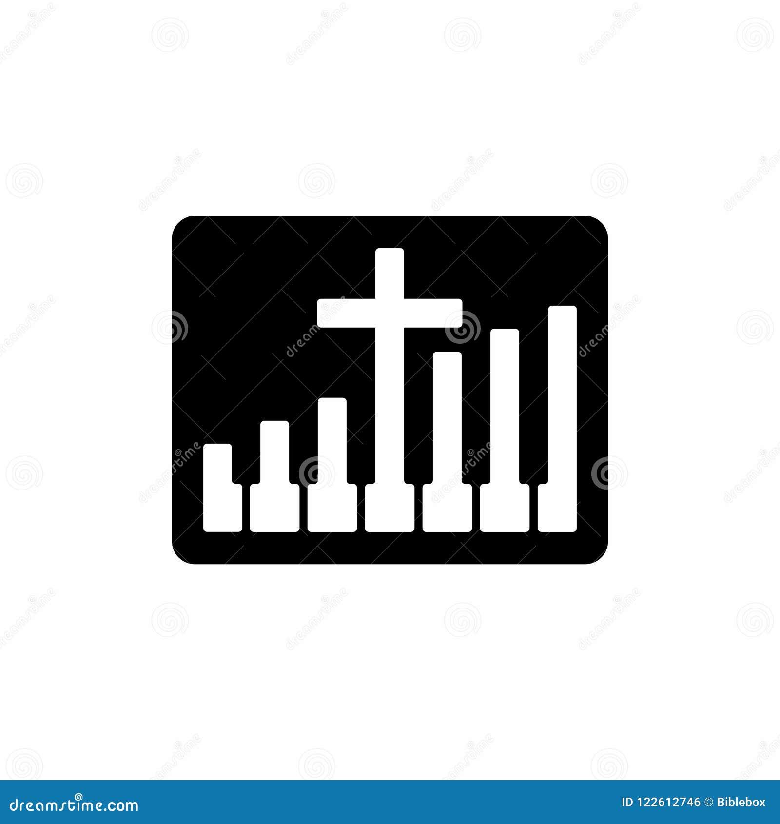 Worship Logo Cristian Symbols Cross And Piano Keys Stock Vector