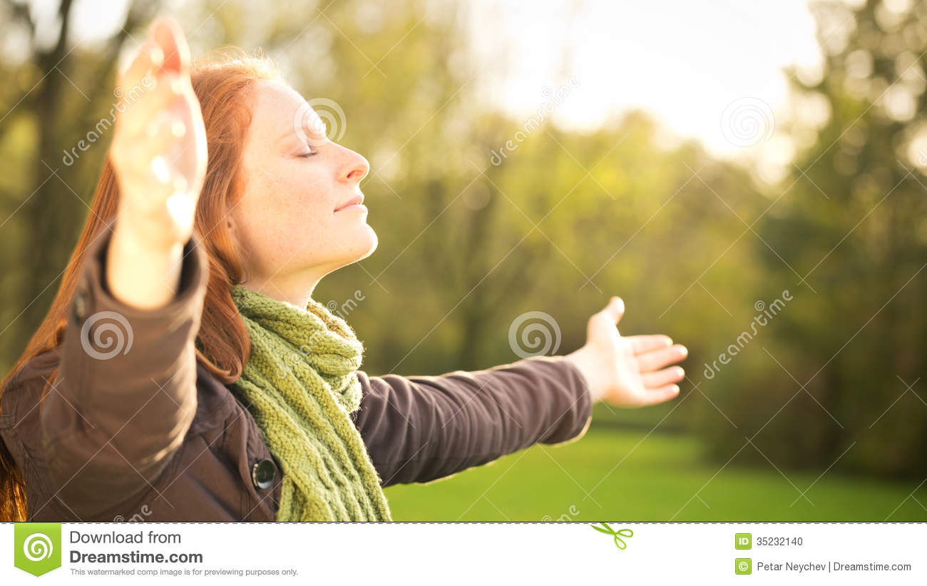 worship with open arms stock photo