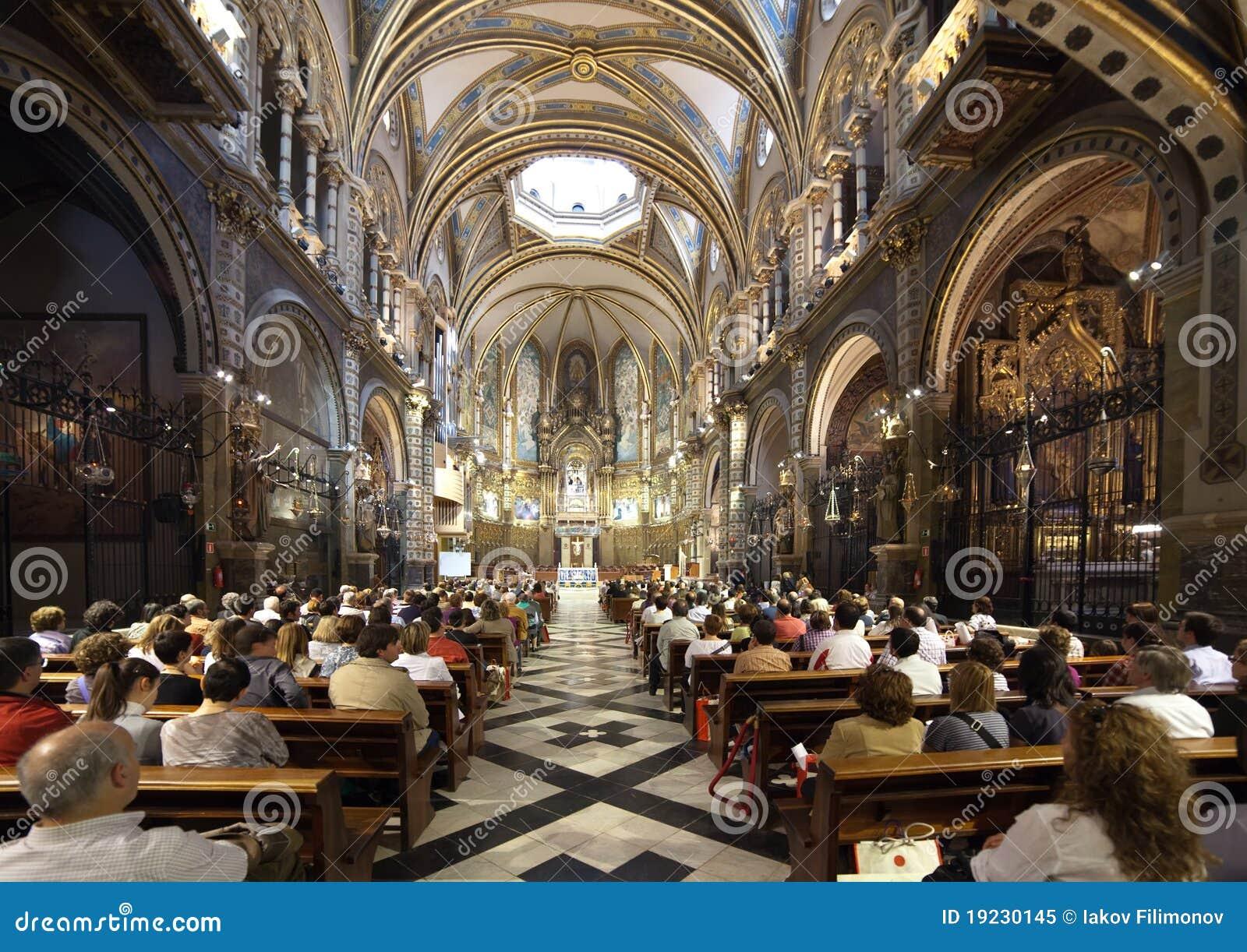 Worshipers during worship in catholic church