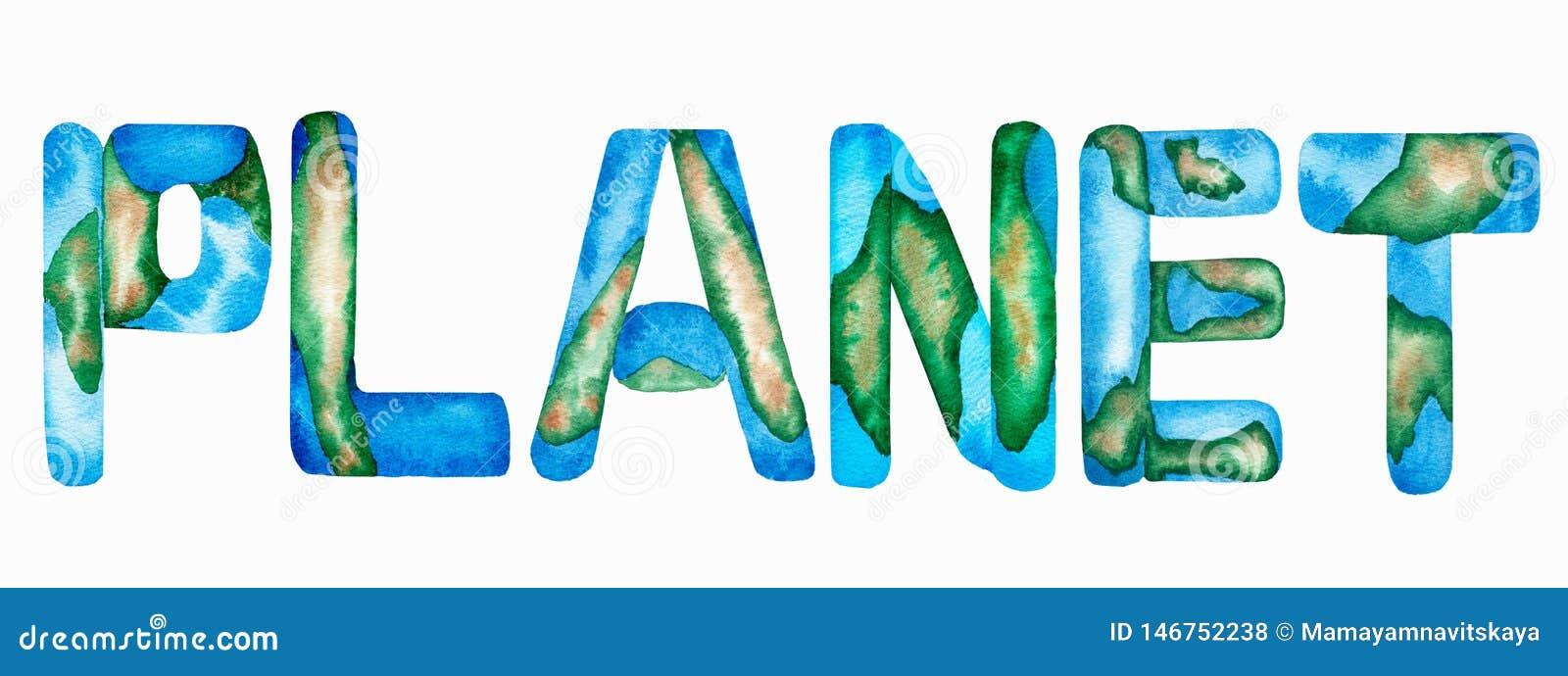 Wort 'PLANETEN'Aufschrift in der blauen und grünen Farbe Buchstaben, welche die Erde und den blauen Ozean nachahmen Beschriftungs