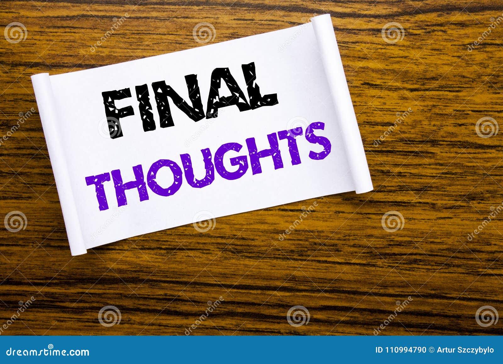 Wort, Abschließende Gedanken Schreibend Geschäftskonzept Für Den ...