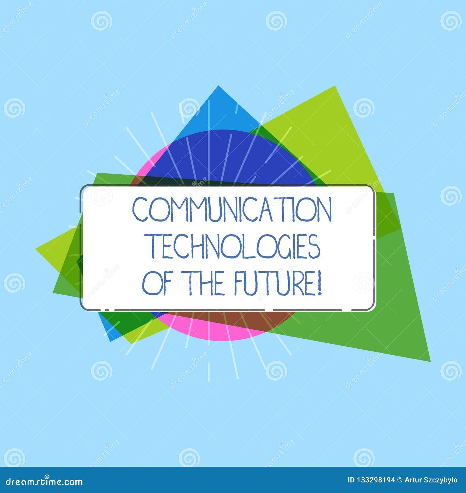 Wort, das Text Kommunikationstechnologien der Zukunft schreibt Geschäftskonzept für moderne innovative Social Media Apps rechteck
