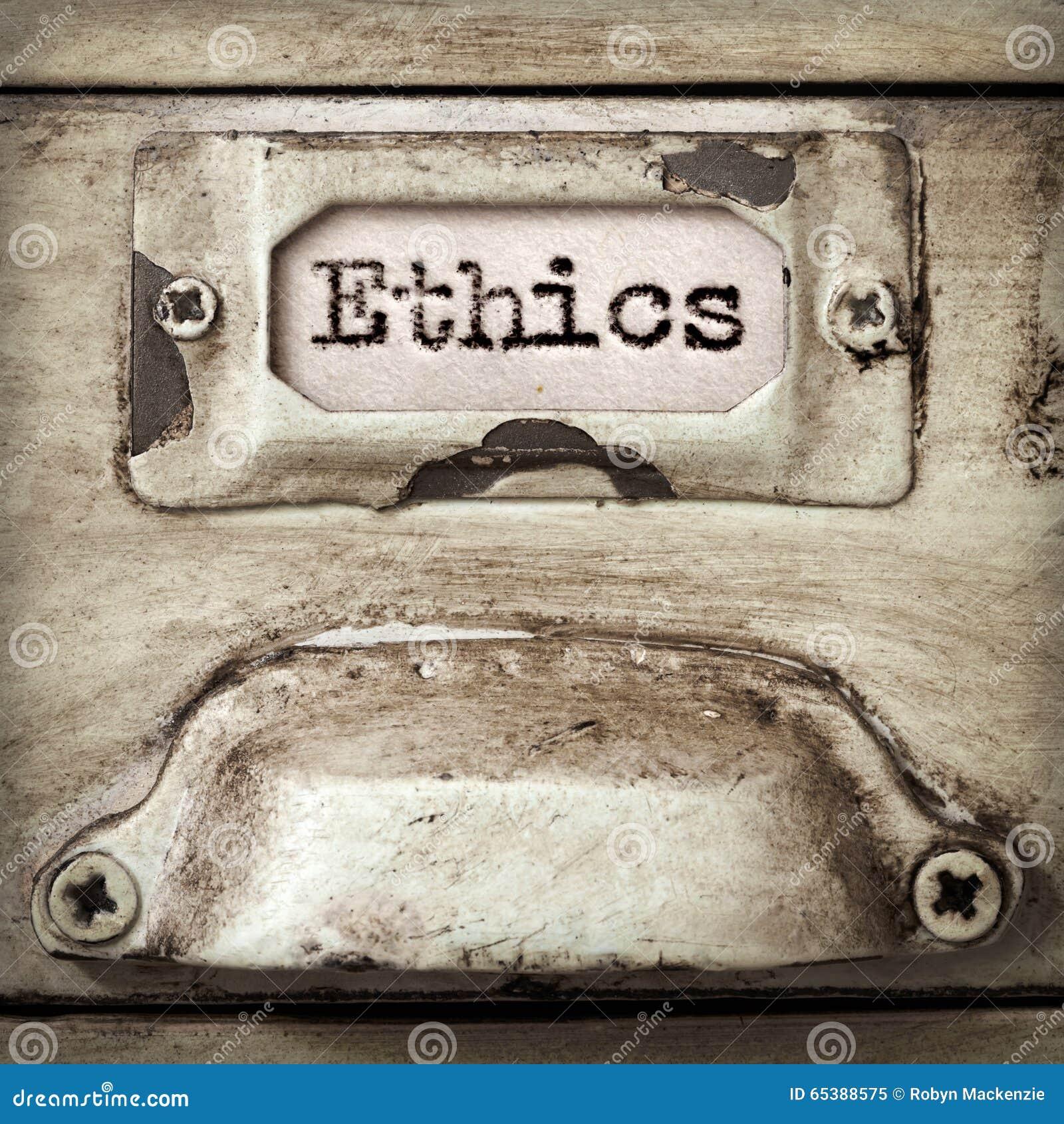 Wort-Ethik auf Weinlese-Aktenschrank-Fach-Aufkleber