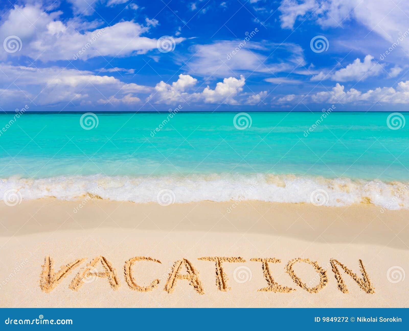 Wort-Ferien auf Strand