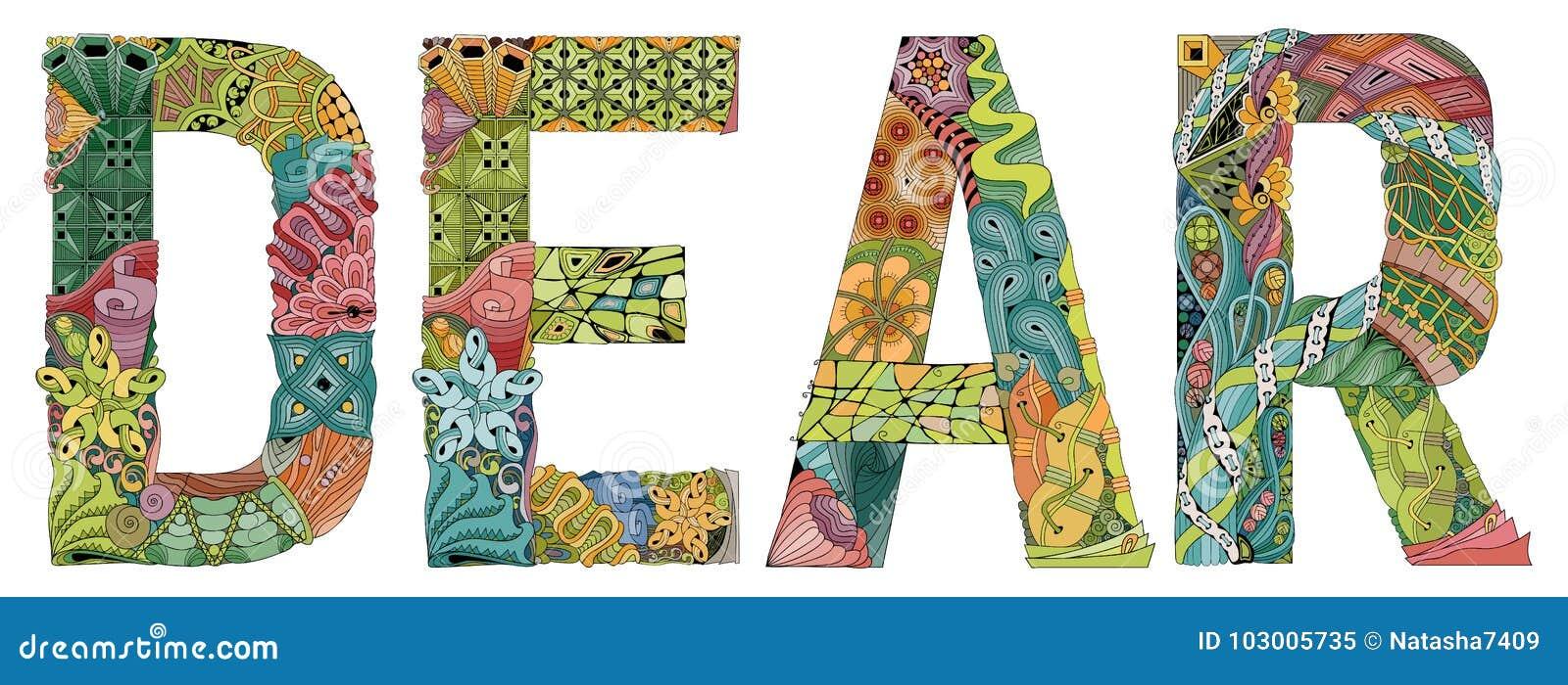 Wort lieb Vektor dekorativer zentangle Gegenstand