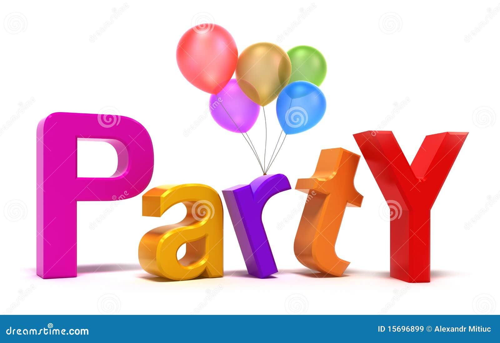 Wort-Party Mit Bunten Zeichen Lizenzfreie Stockbilder ...