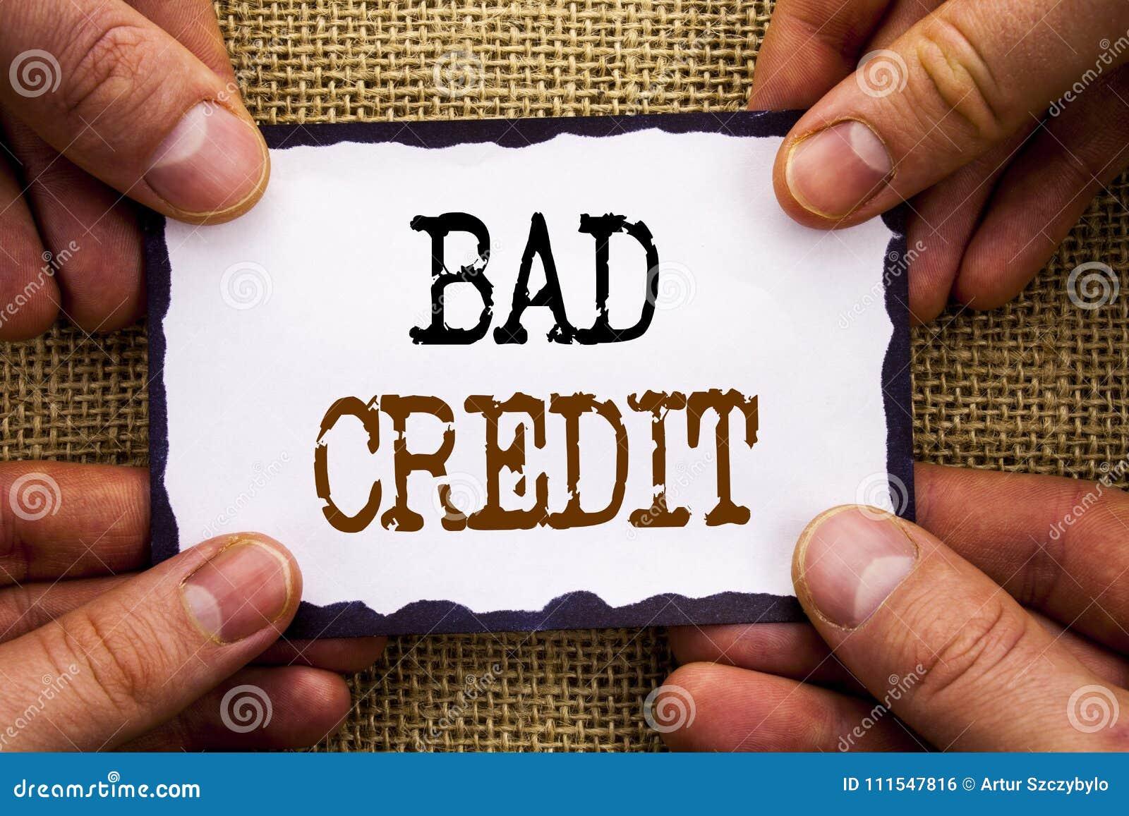 Wort, Schreiben, simsen schlechten Kredit Begriffsfoto schlechte Bank-Bewertungsnote für die Darlehens-Finanzierung geschrieben a