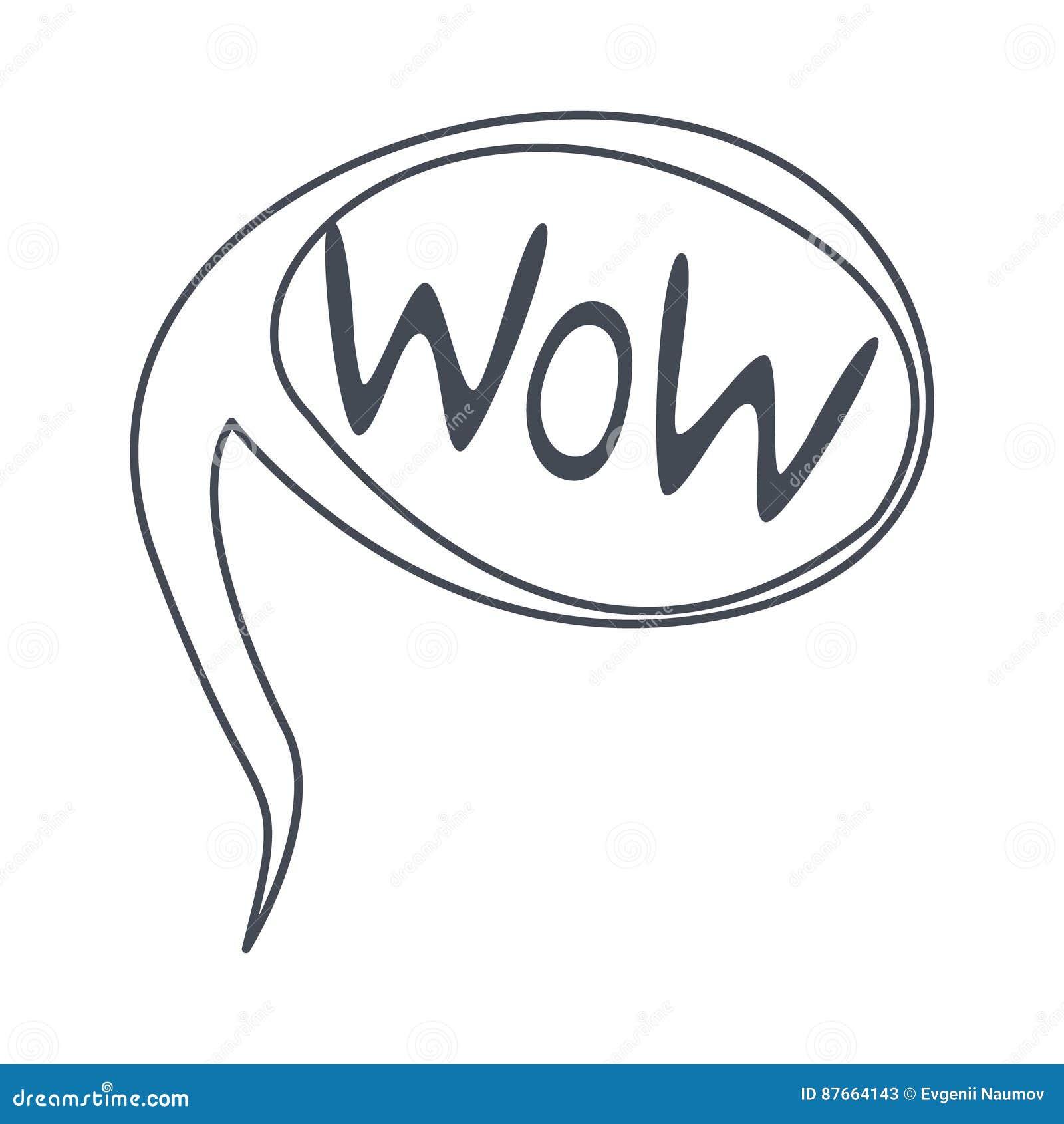 Wort Wow, Hand Gezeichnete Komische Sprache-Blasen-Schablone ...