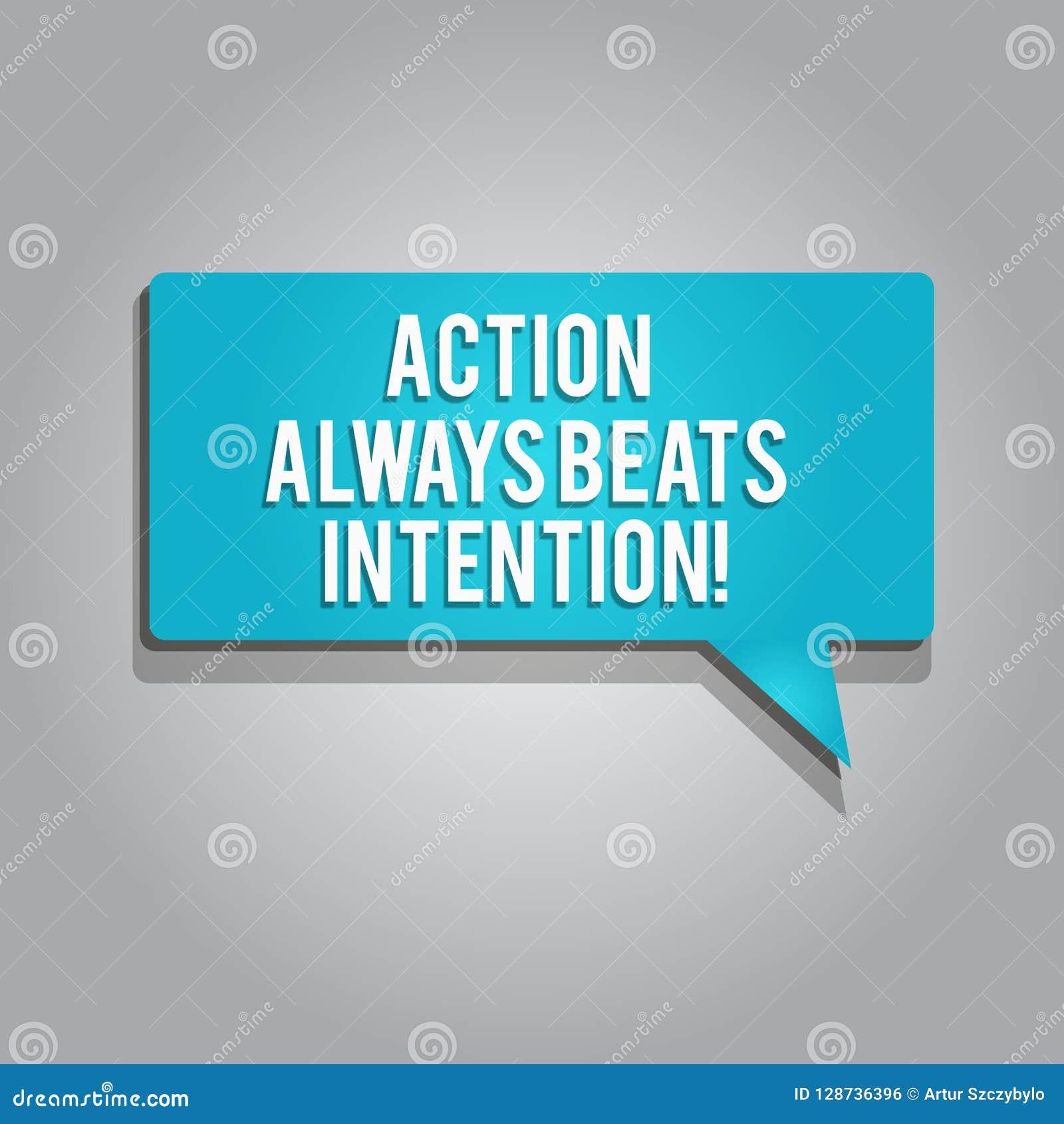 Wortschreibens-Text Aktion schlägt immer Absicht Geschäftskonzept für Materialized lassen sie geschehen Tat auf ihm