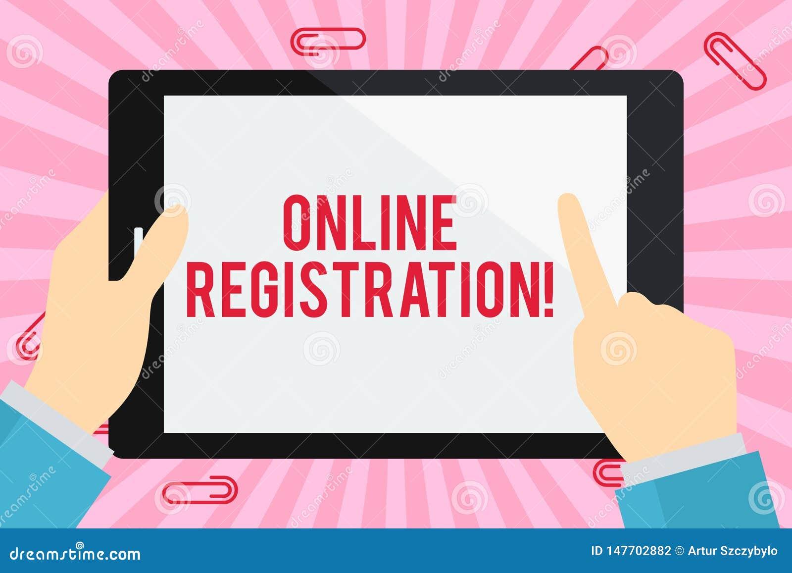Wortschreibens-Text Online-Registrierung Geschäftskonzept für das Registrieren über das Internet als Benutzer eines Produktes