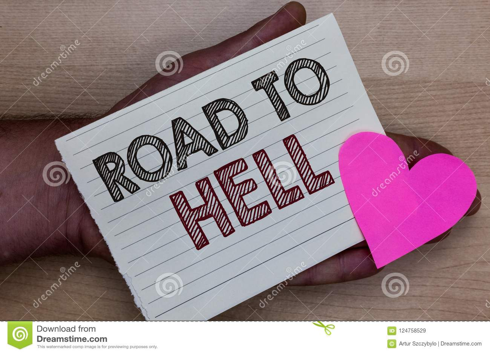 Wortschreibens-Text Straße zur Hölle Geschäftskonzept für dunklen riskanten unsicheren Mann Reise des extrem gefährlichen Durchga
