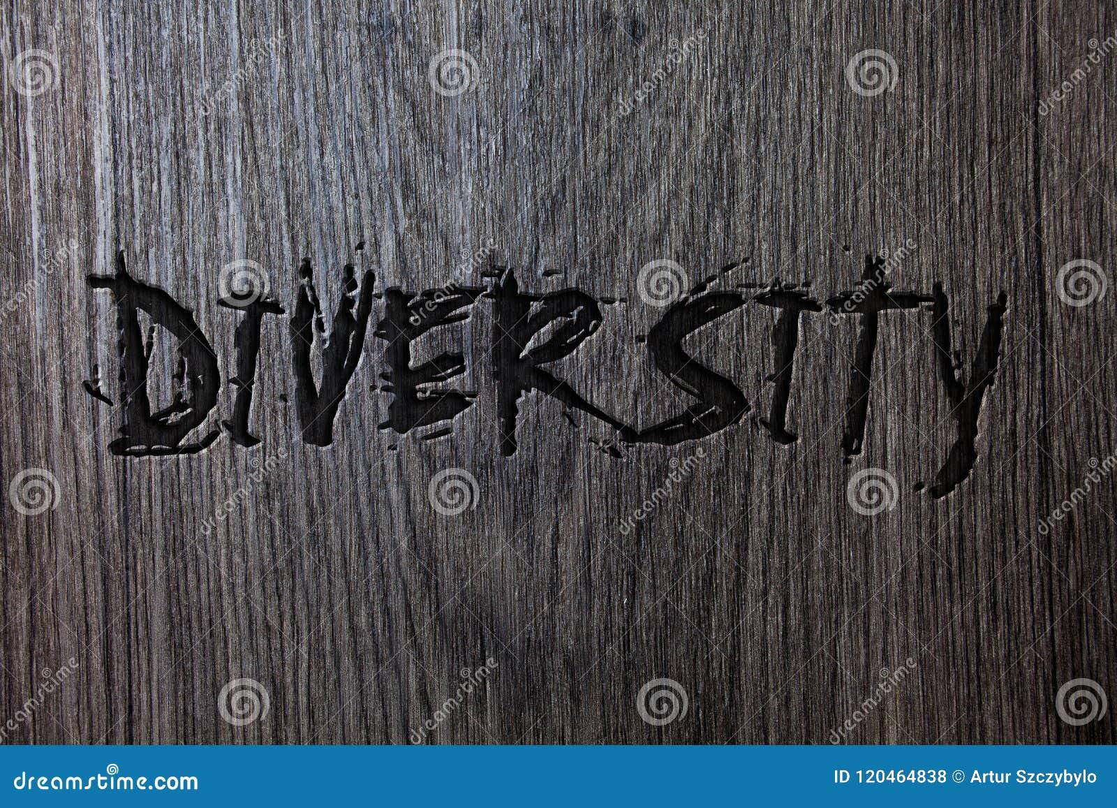 Wortschreibens-Text Verschiedenartigkeit Geschäftskonzept für aus multiethnischem hölzernem Holz-BAC unterschiedlicher Elemente v
