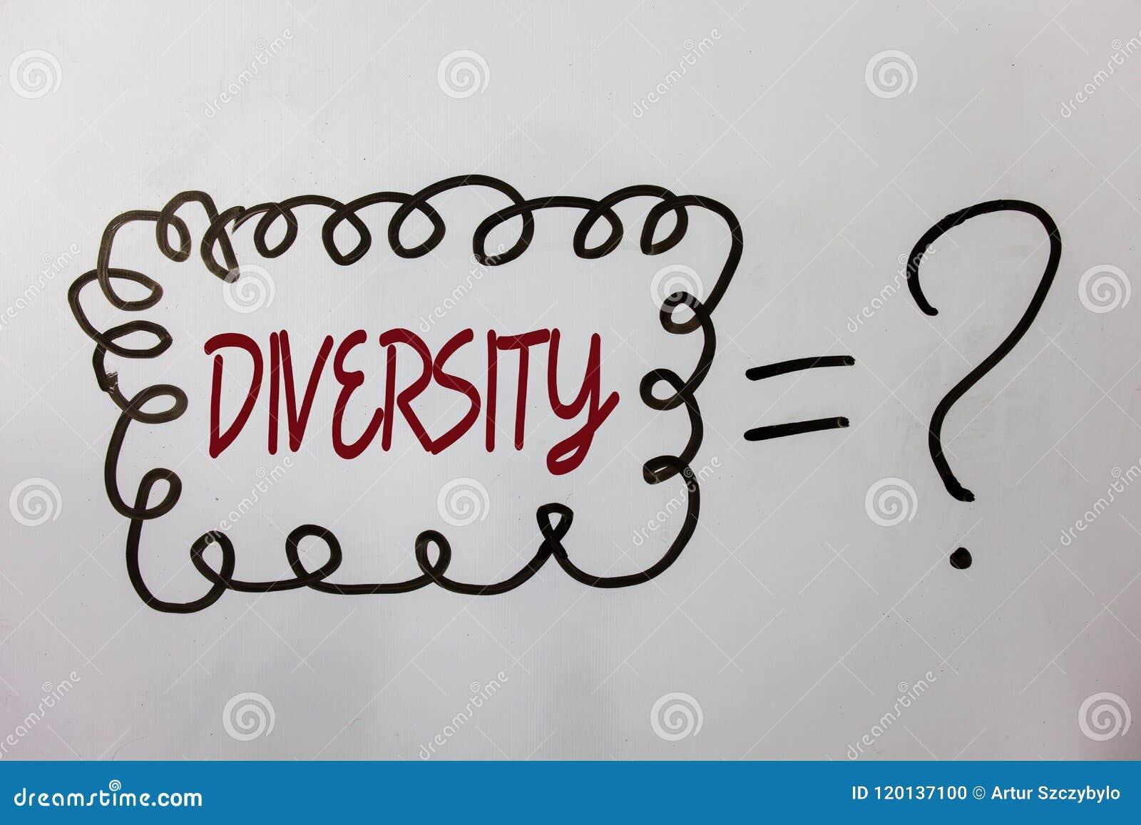 Wortschreibens-Text Verschiedenartigkeit Geschäftskonzept für aus unterschiedliche Elemente verschiedene Vielzahl-multiethnischen