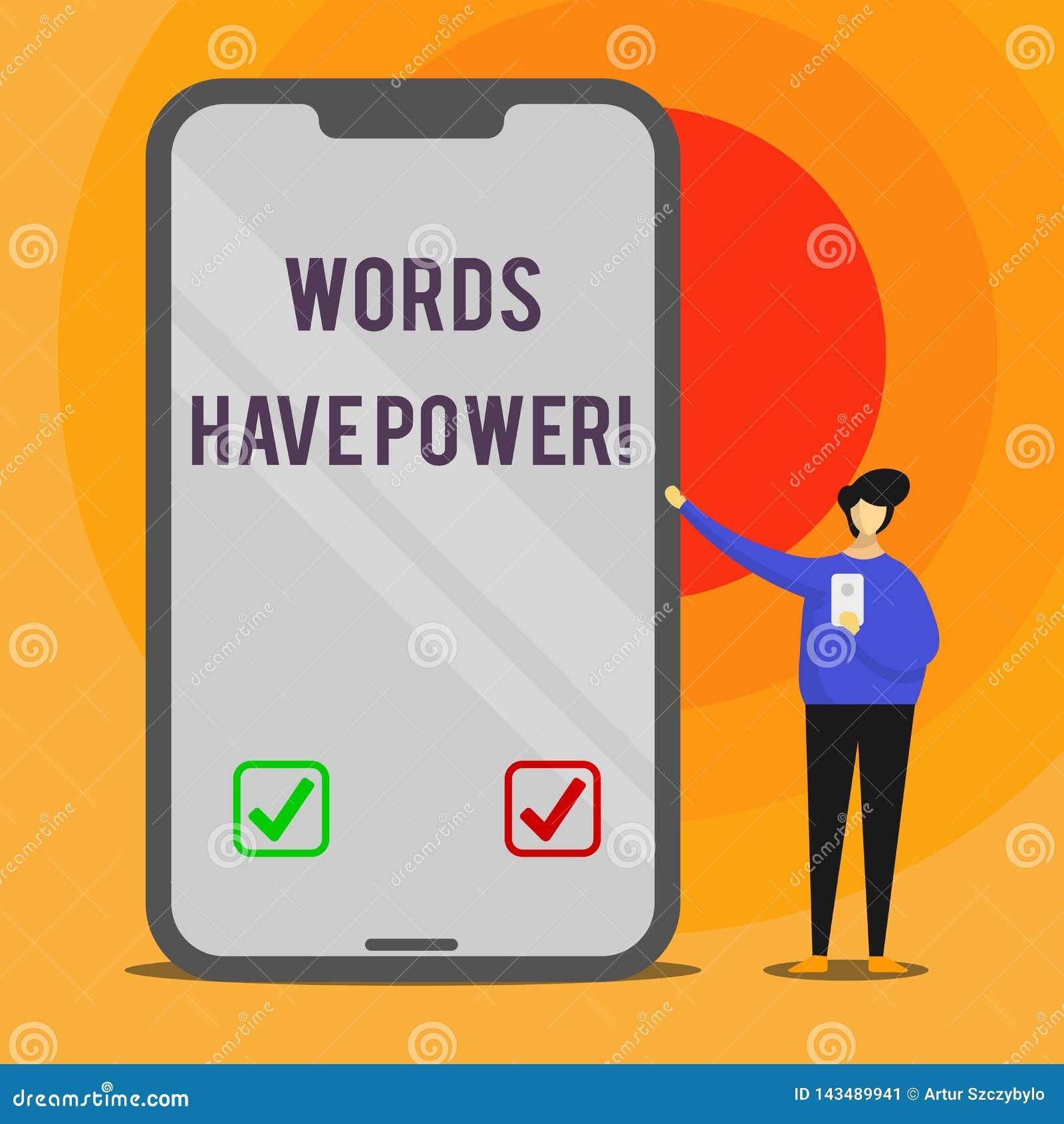 Wortschreibens-Text Wörter haben Energie Geschäftskonzept für, da sie Fähigkeit haben zu helfen, die Schmerzen zu heilen oder jem
