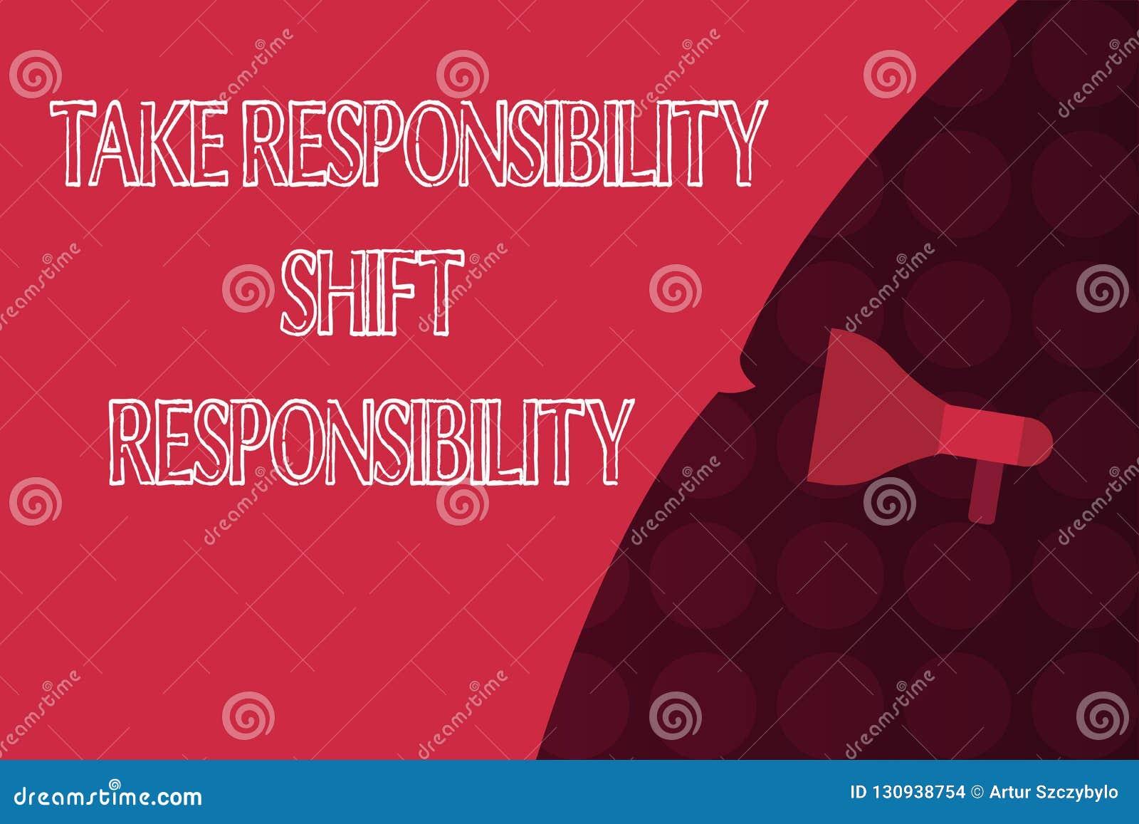 Wortschreibenstext übernehmen Verantwortungs-Schiebeverantwortung Geschäftskonzept für wird nehmen die Verpflichtung gereift