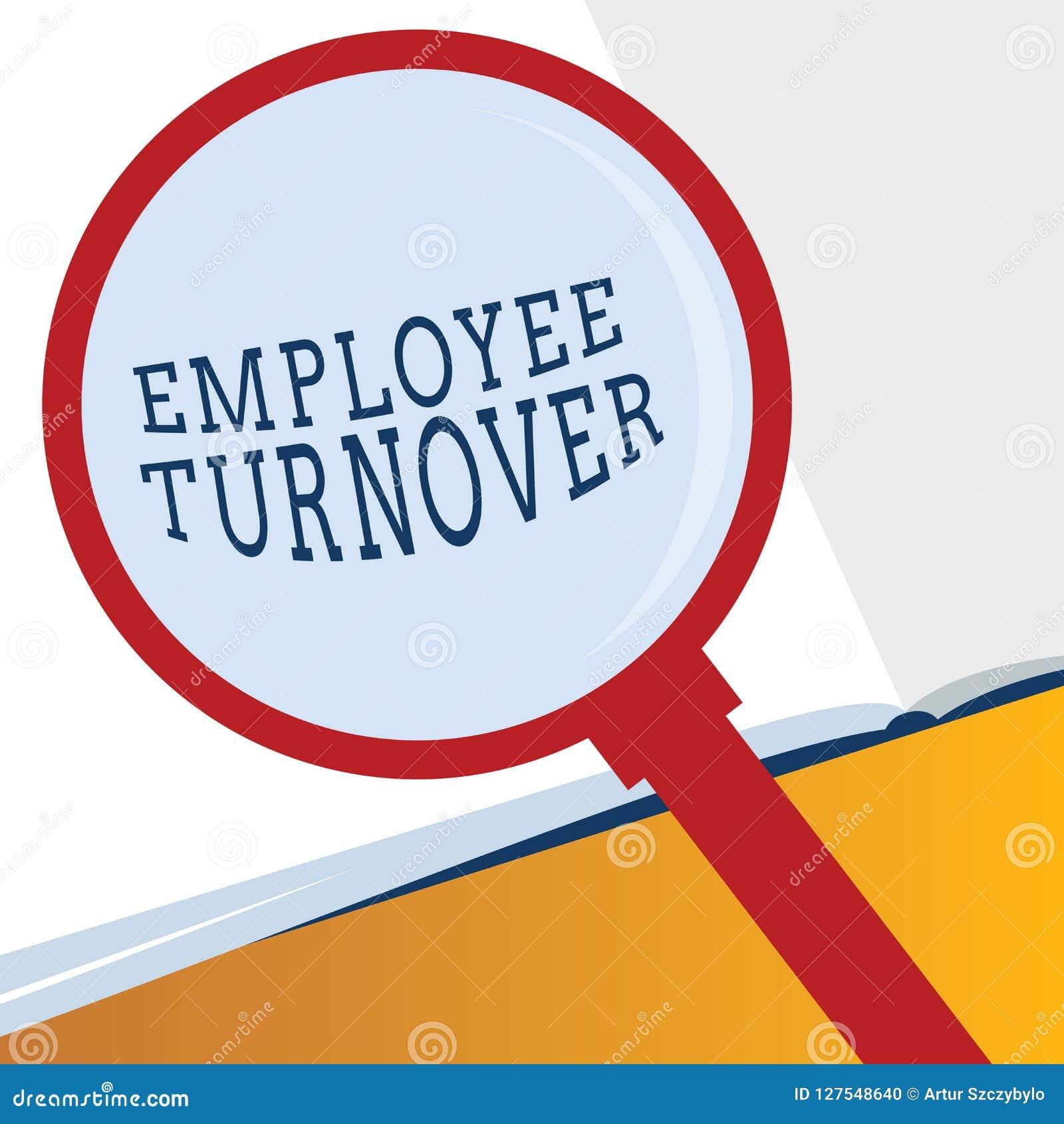 Wortschreibenstext Angestellt-Umsatz Geschäftskonzept für Zahl oder Prozentsatz von Arbeitskräften, die eine Organisation lassen