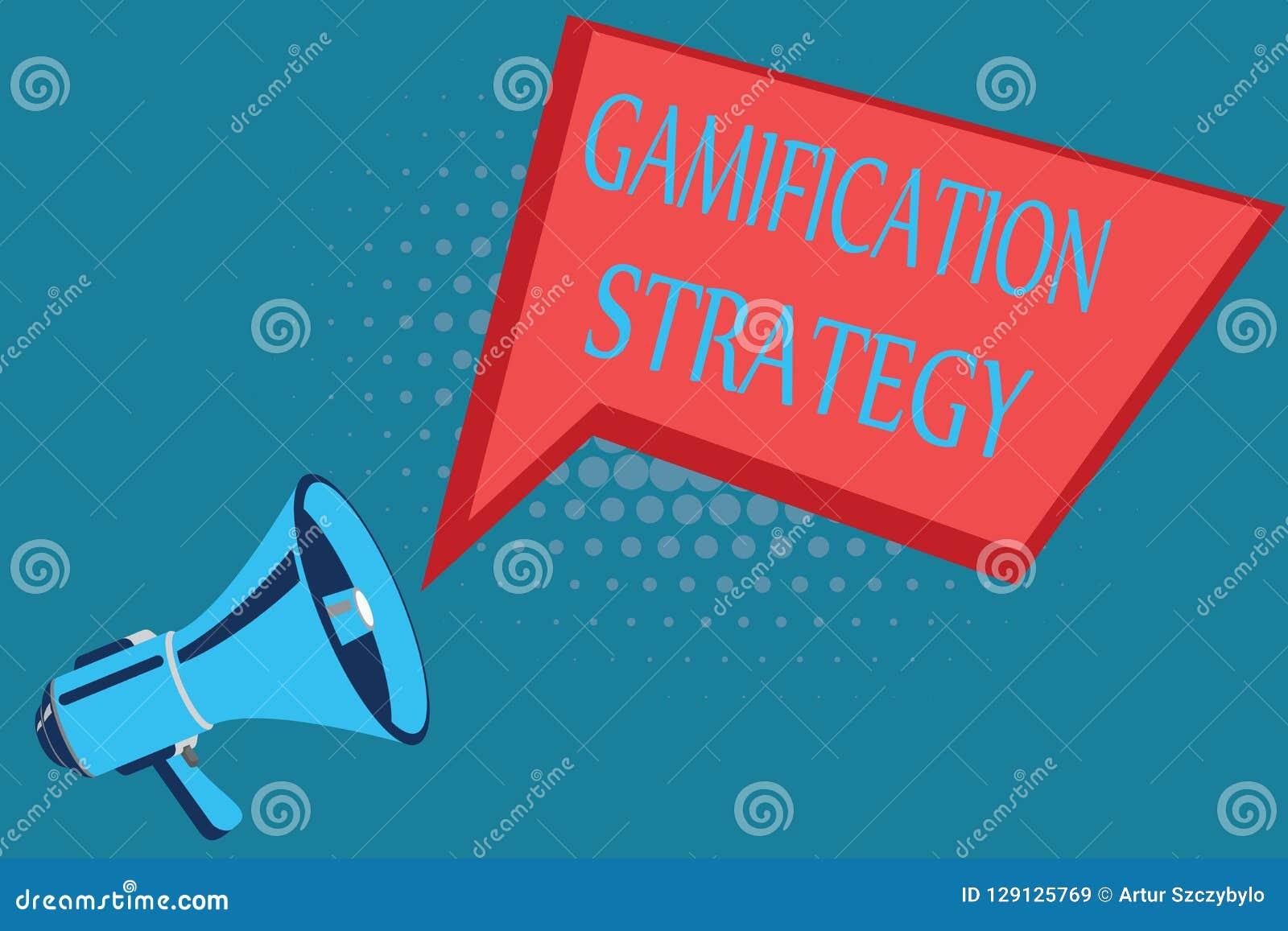 Wortschreibenstext Gamifications-Strategie Geschäftskonzept für Gebrauch Belohnungen für Motivation integrieren Spiel-Mechaniker