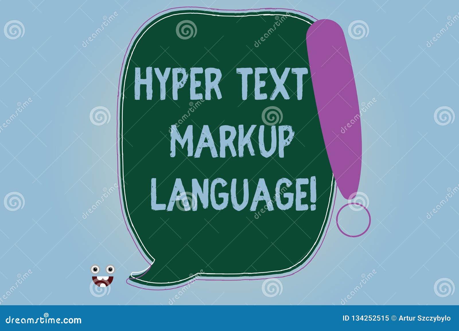 Wortschreibenstext Hyper Text-Auszeichnungssprache Geschäftskonzept für Gemeinsprachen für die Schaffung von Website freiem Raum