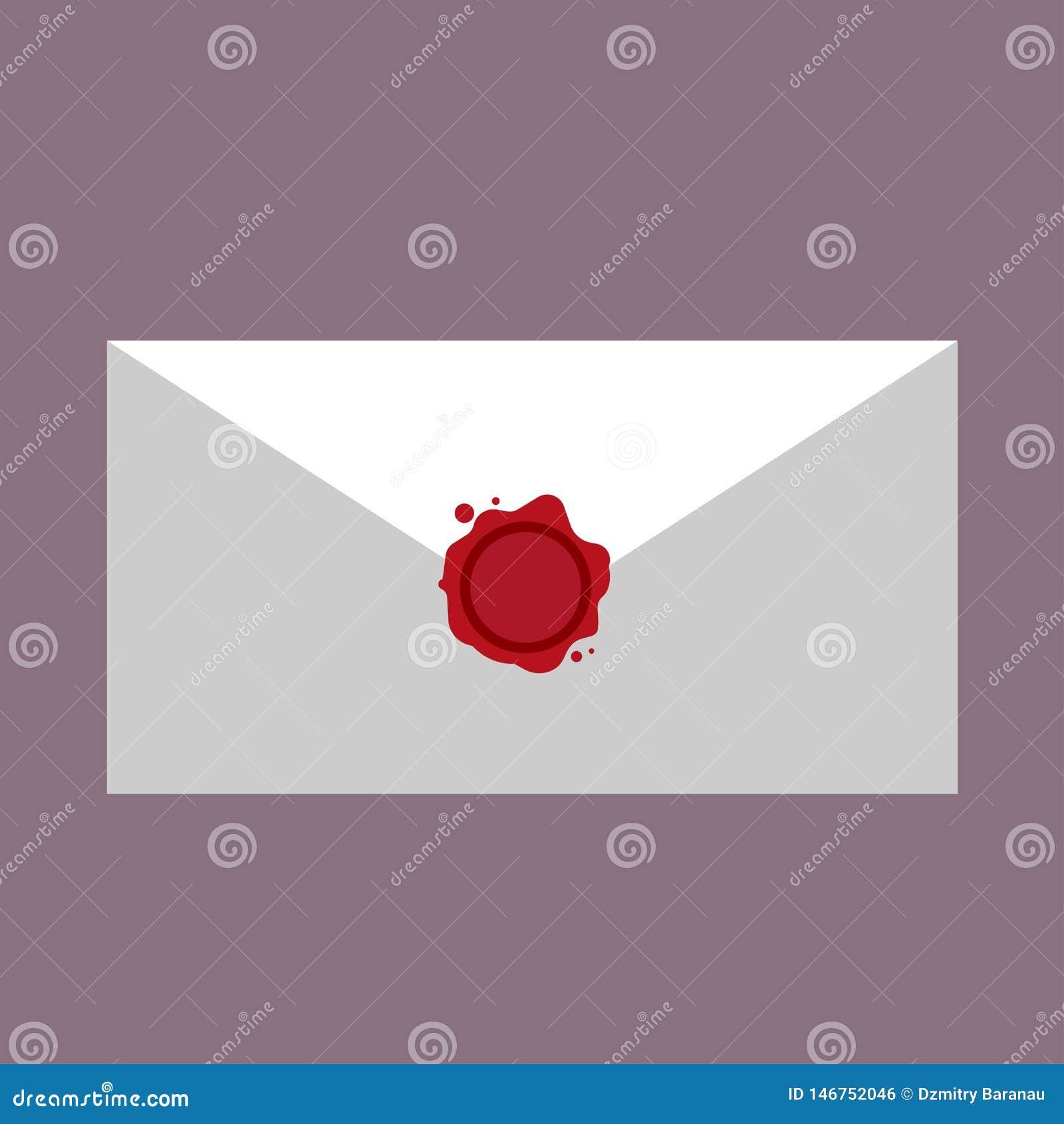 Wosku listowego symbolu stemplowej korespondencji foki pusta czerwień Wektorowej ikony wiadomości gwarancji poufna poczta