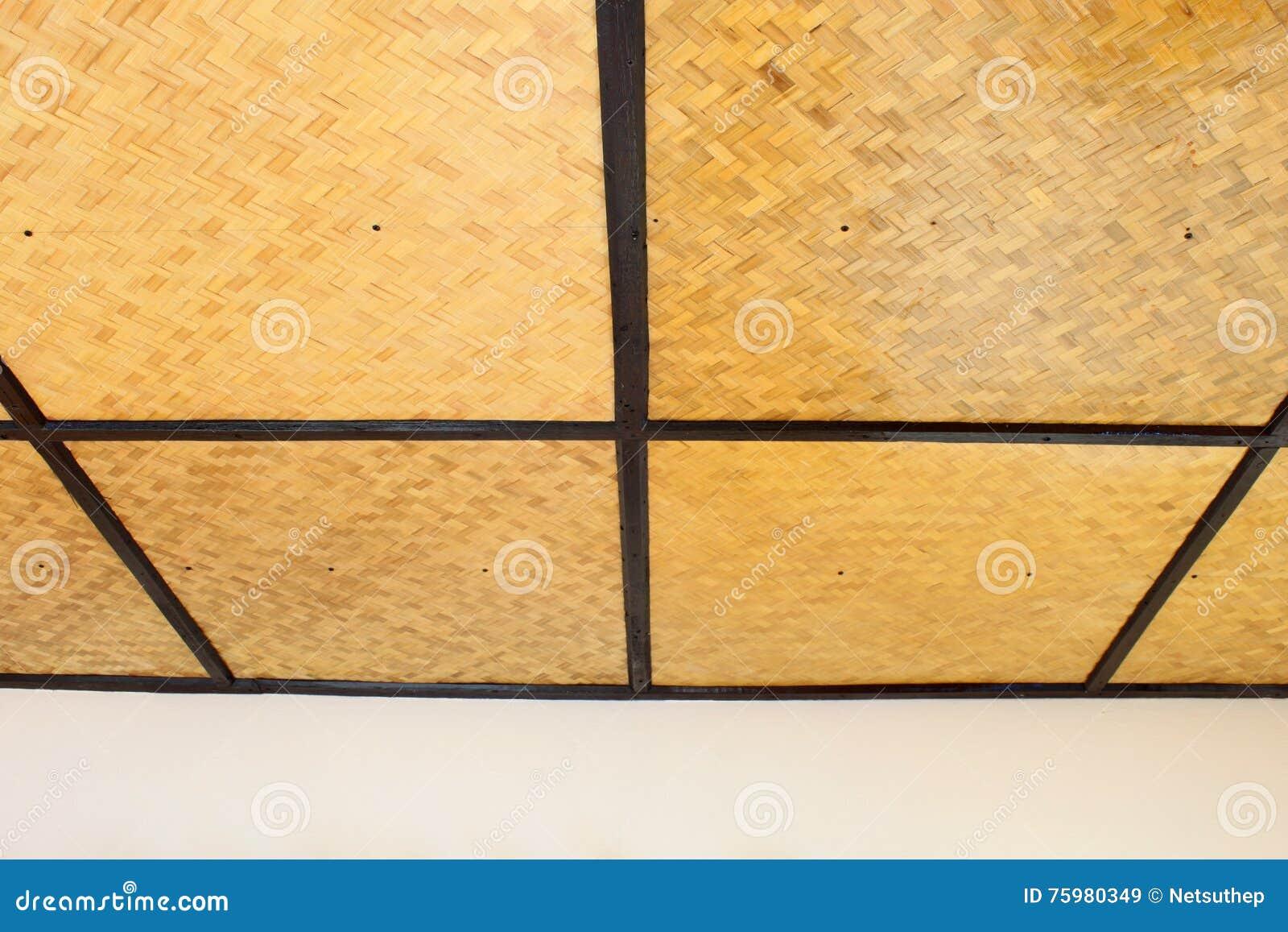 Woven Bamboo Ceiling Stock Image Image Of Hardwood Nature 75980349