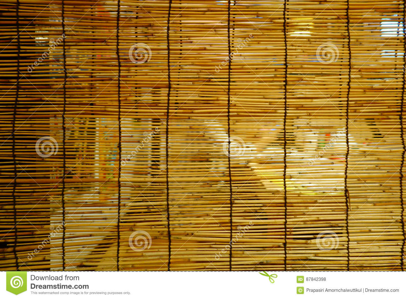 woven bamboo striped mat texture background. japanese restaurant