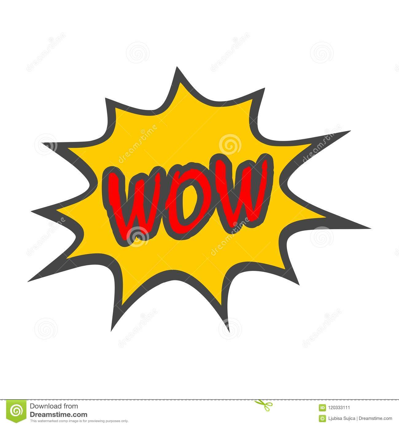 Wow Comic Text icon sign stock vector  Illustration of burst