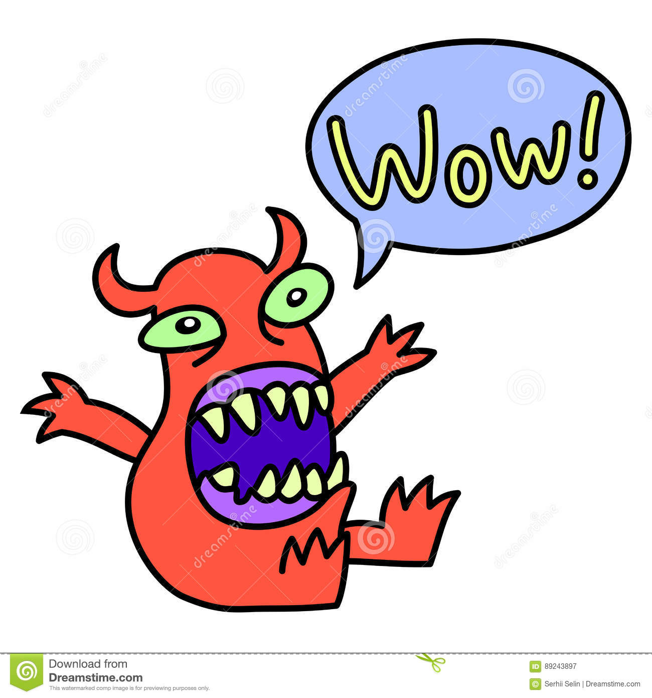 Download Wow Funny Cute Monster Screaming Speech Bubble Vector Illustration Stock Vector