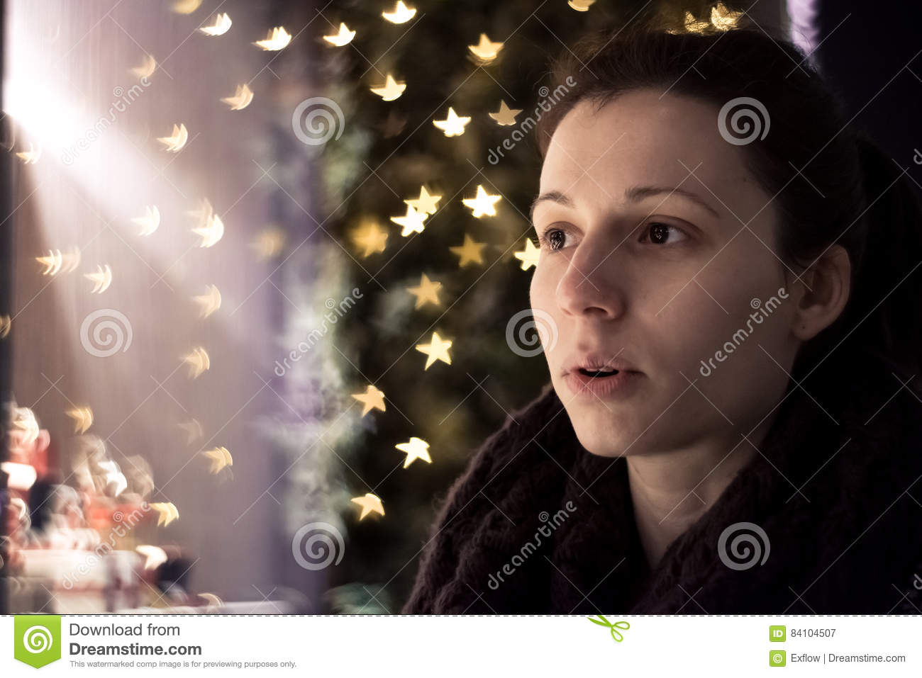 Wow! Girl amazed by Christmas decorations
